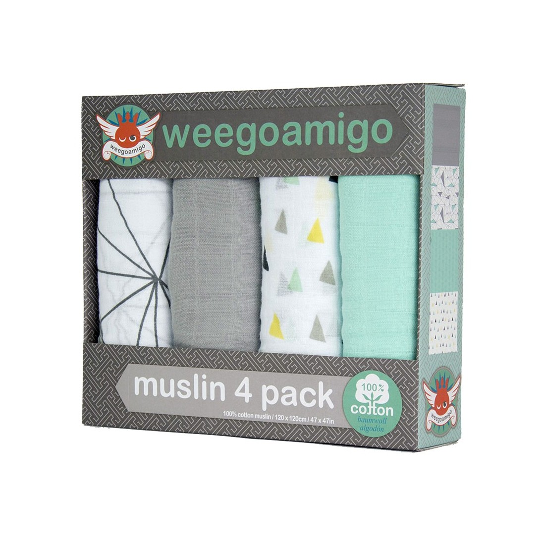 Maxi langes pour bébé Weegoamigo - Pack 4 - SIX DEGREES