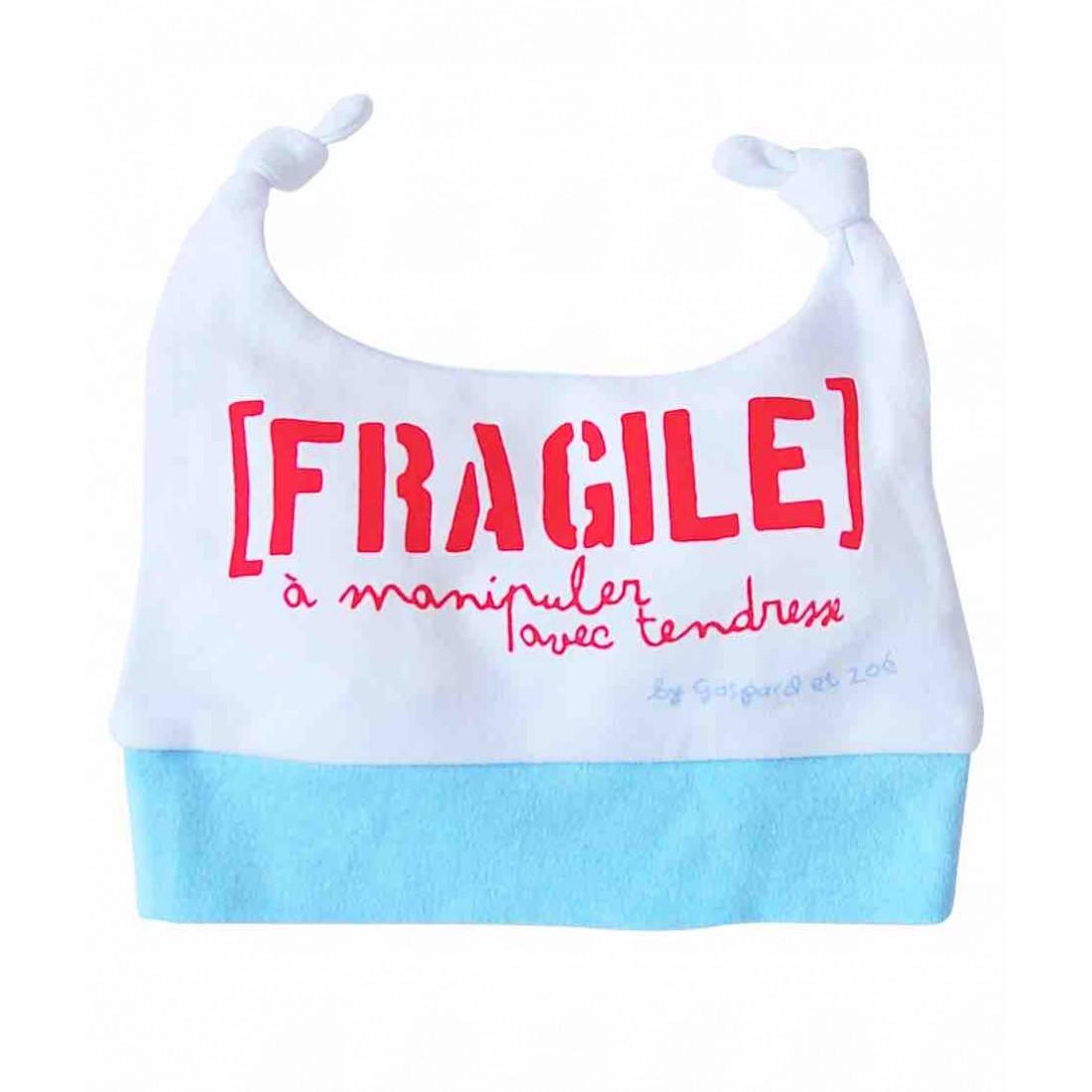 Bonnet bébé en coton FRAGILE