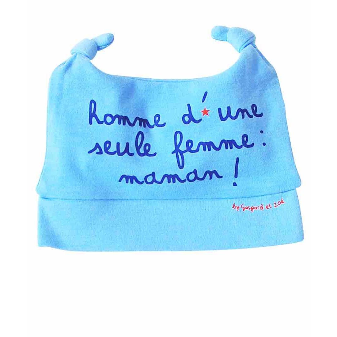 Bonnet bébé garçon HOMME D'UNE SEULE FEMME ... MAMAN