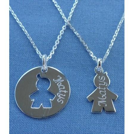 Bijoux duo de naissance - collier maman et enfant