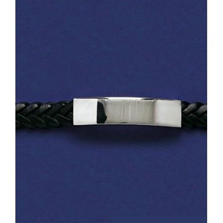 Bracelet gourmette homme en cuir et acier à graver