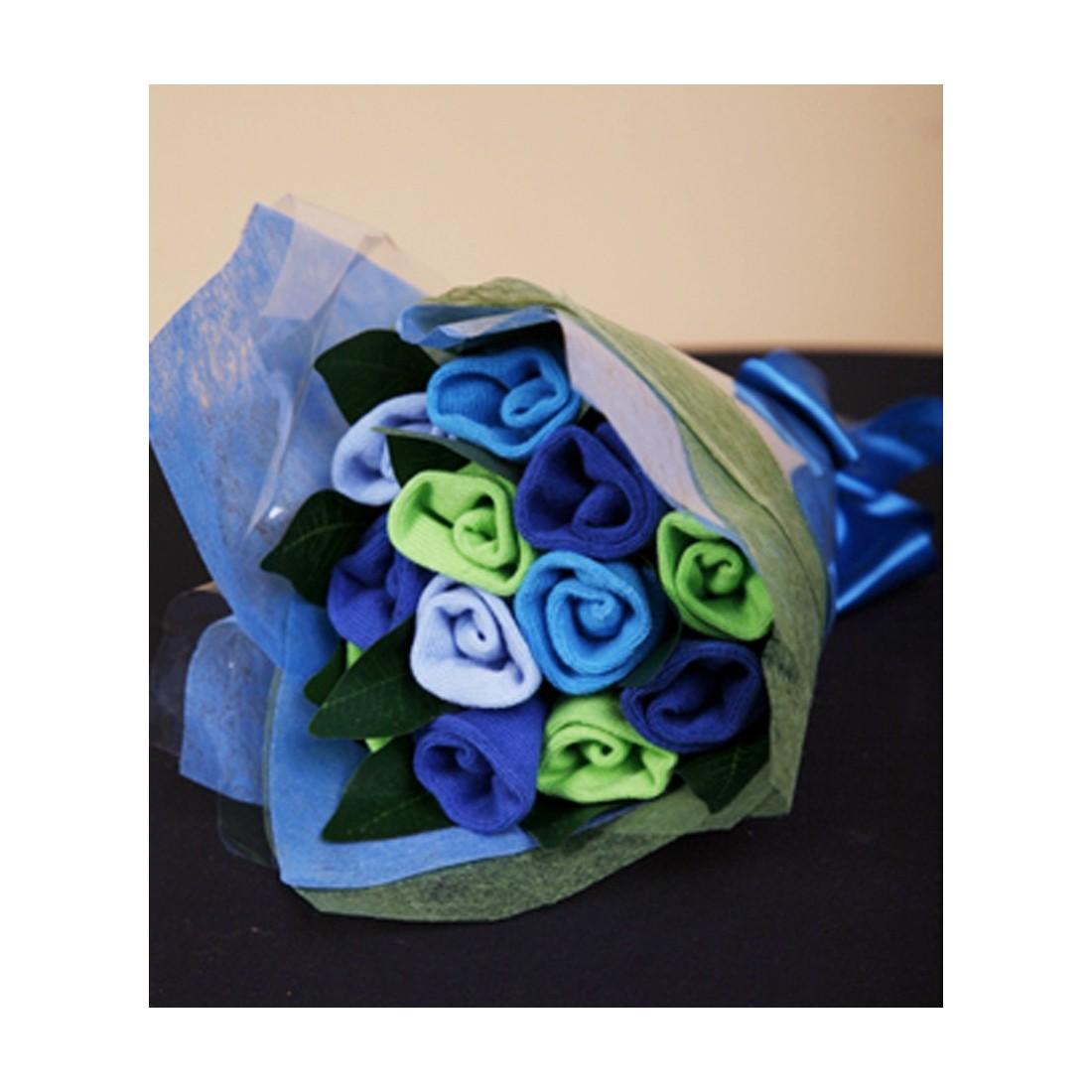 Bouquet de chaussettes naissance turquoise