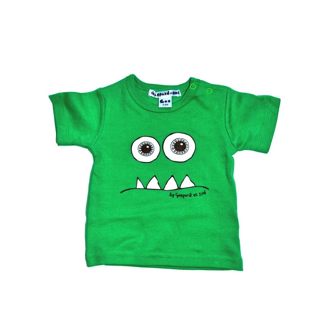 Tshirt bébé rigolo Monstre vert
