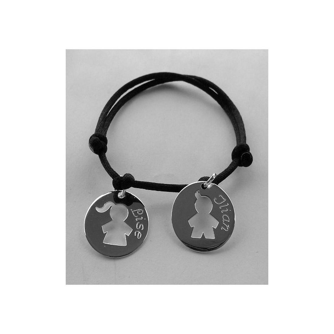 Bracelet femme cordon et médaille en argent ou plaqué or