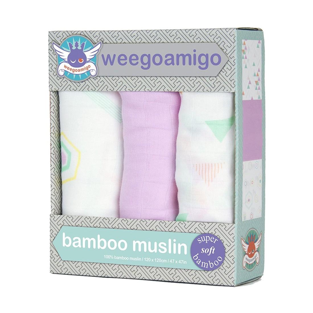 Lange bébé fille en bambou Weegoamigo - Pack 3 - HEXAGONIA