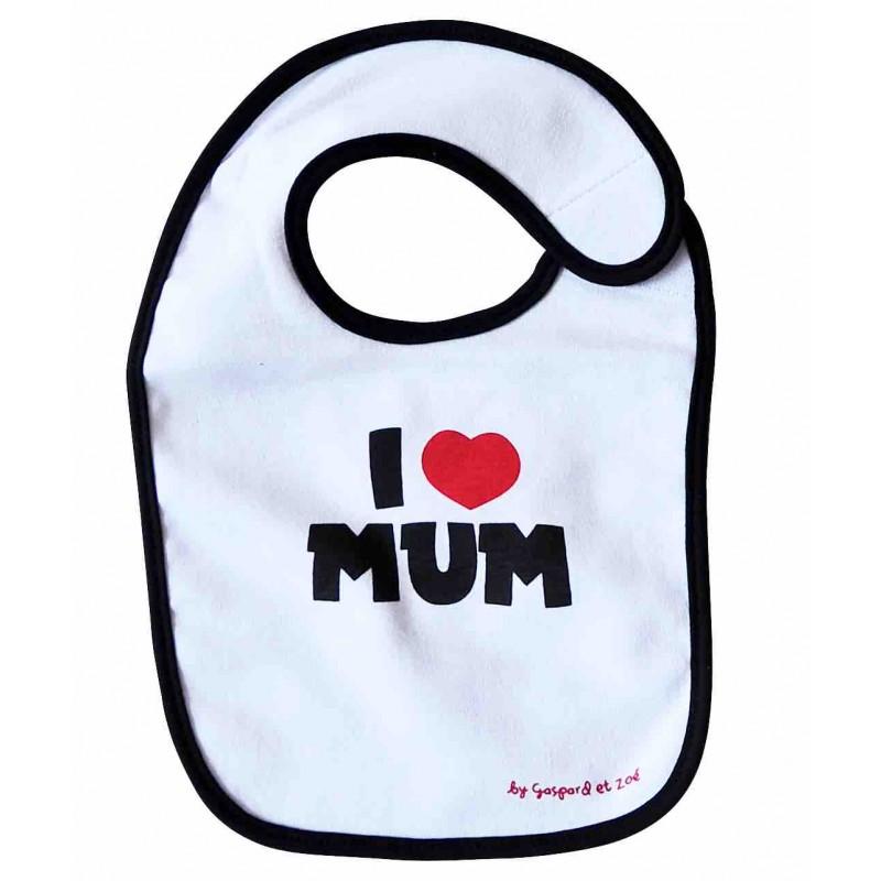 Bavoir maman fun I LOVE MUM (J'AIME MA MAMAN)