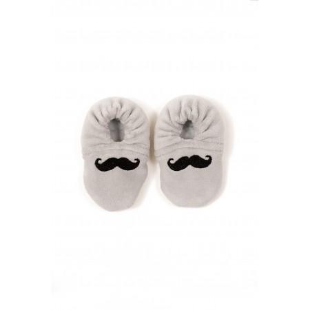 Chaussons velours brodé moustache