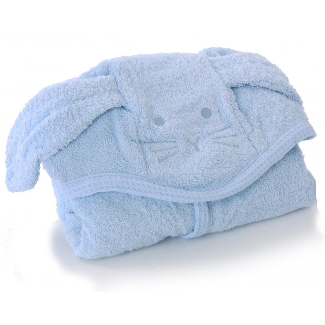 cape de bain chien bleu ciel