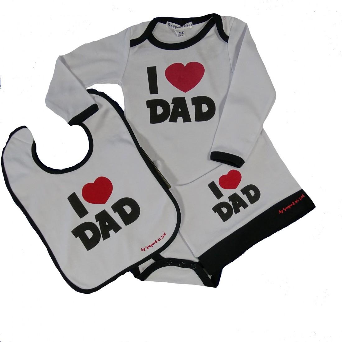 Coffret 3 pièces Body bébé fun I love Dad