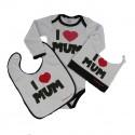 coffret 3 pièces Body bébé rock - I love Mum