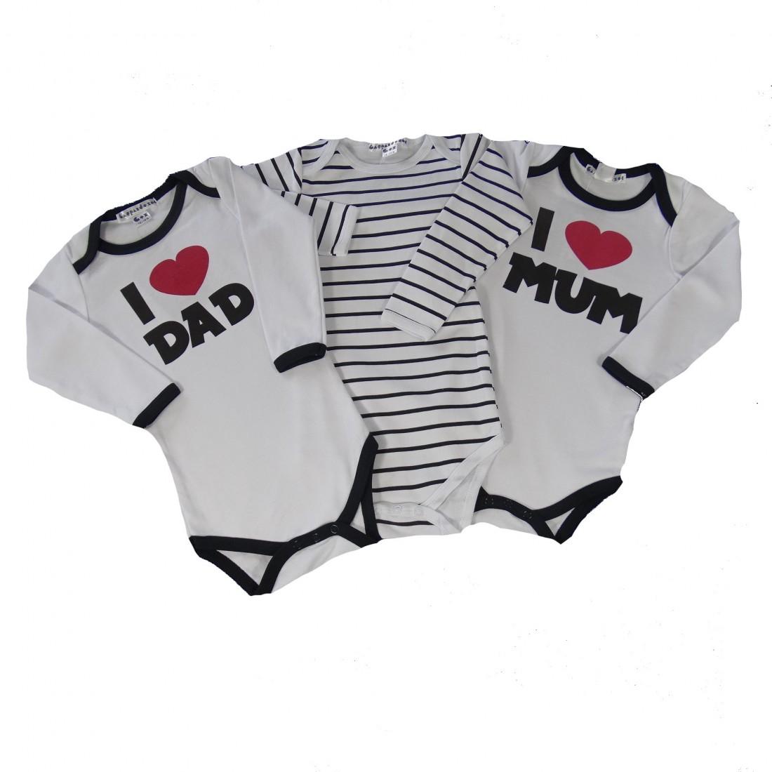 Coffret trio family 3 Body bébé Rockeur
