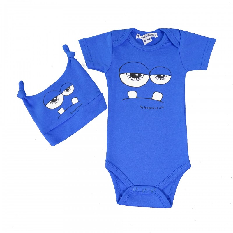 coffret Body+Bonnet  bébé fun Monster bleu