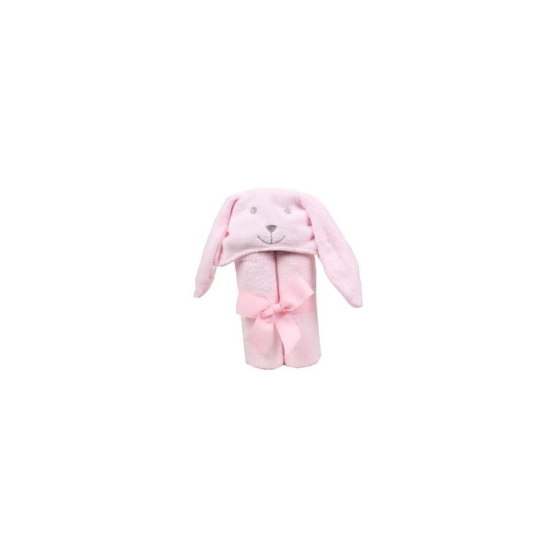 cape de bain lapin rose