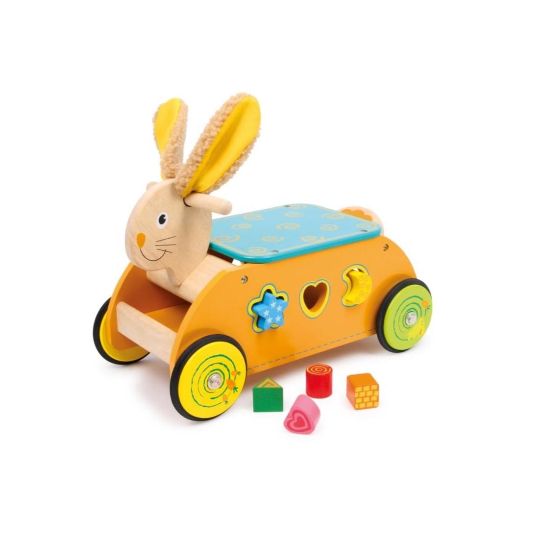 jouet d'éveil voiture de motricité lapin
