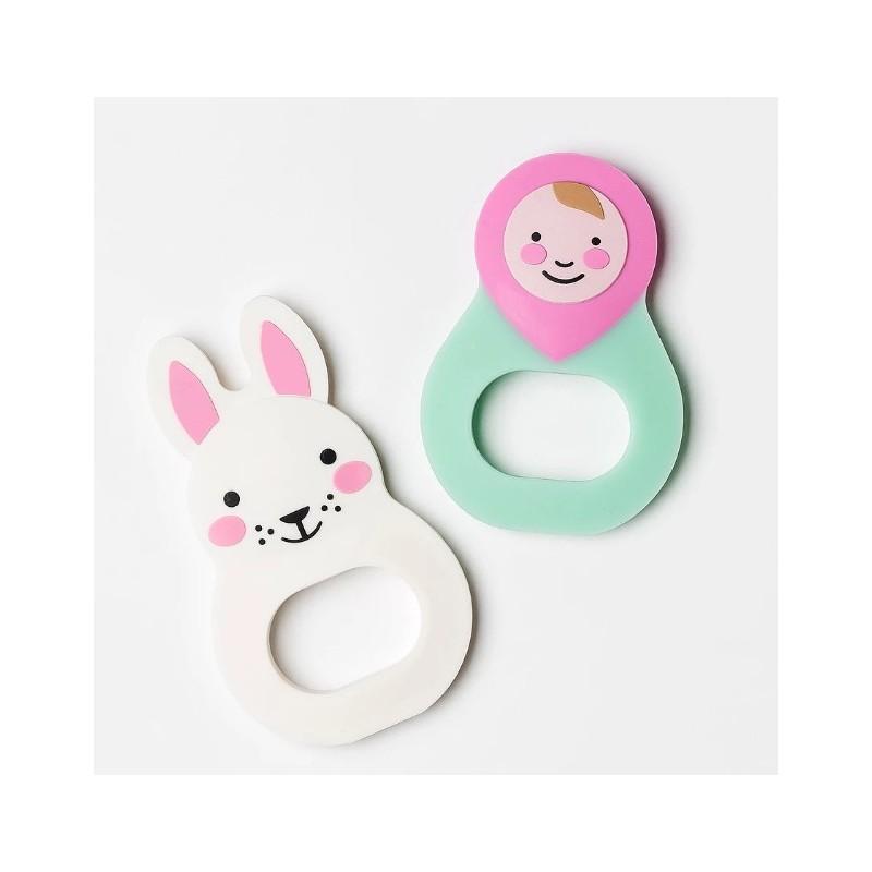 anneau de dentition Bo Bunny ou baby rosa