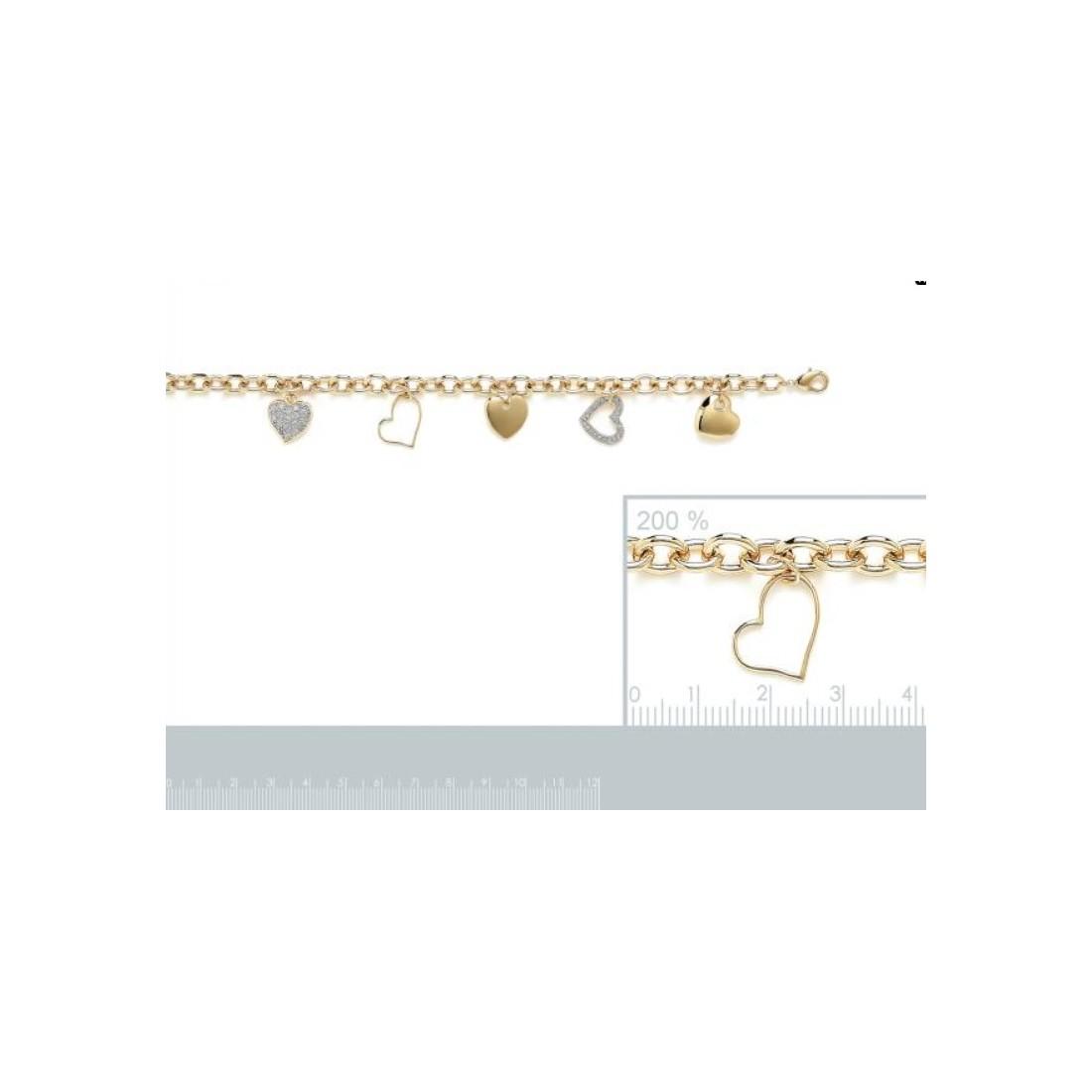 Bracelet femme pendentifs coeurs plaqué or ou argent