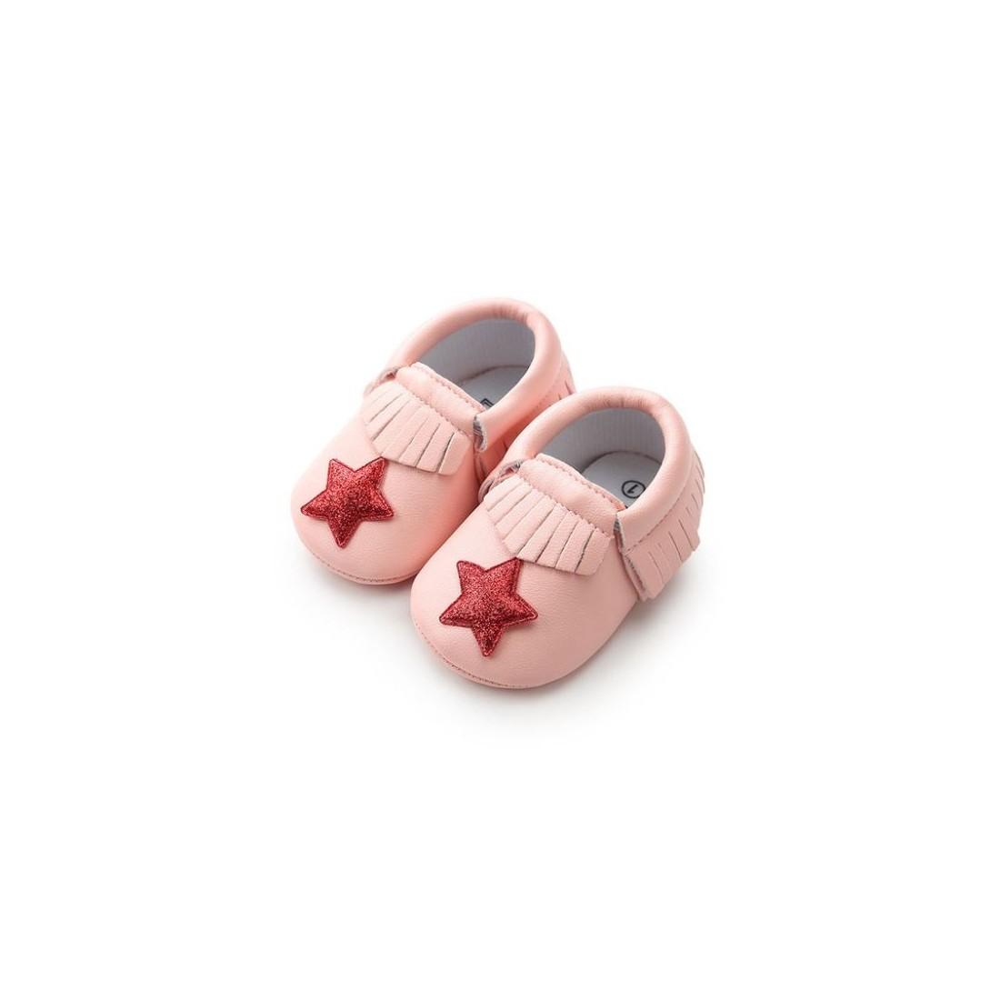 Mocassin bébé étoile rose