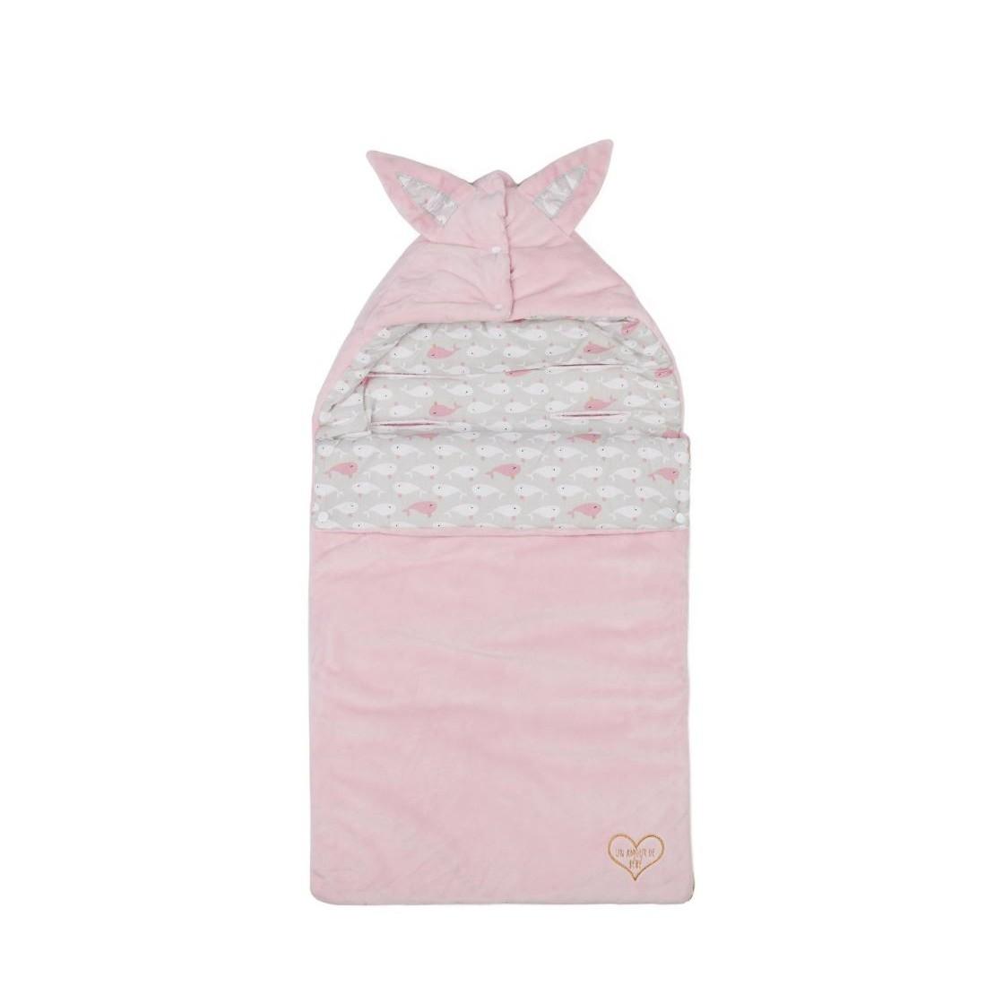 Nid d'ange  gris et rose motifs dauphins
