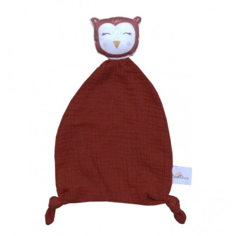 Doudou mixte original - Hibou rouge