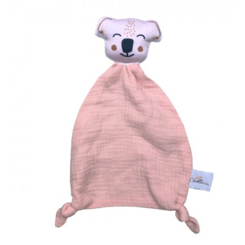 Doudou original en double gaze de coton - Koala rose
